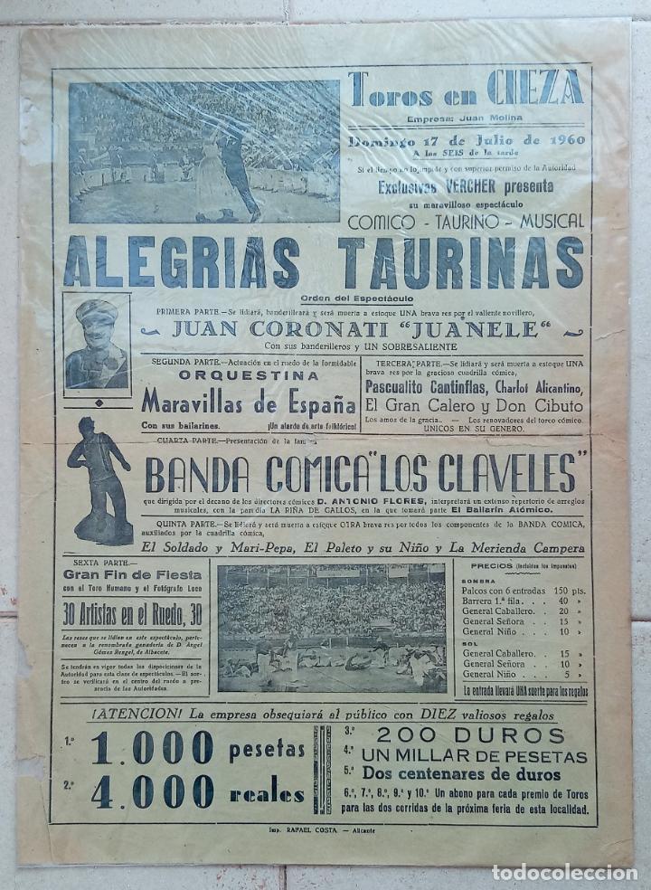 CARTEL PLAZA DE TOROS DE CIEZA. ACONTECIMIENTOS TAURINOS. ALEGRIAS TAURINAS. 1960. W (Coleccionismo - Carteles Gran Formato - Carteles Toros)