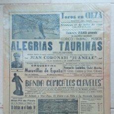Carteles Toros: CARTEL PLAZA DE TOROS DE CIEZA. ACONTECIMIENTOS TAURINOS. ALEGRIAS TAURINAS. 1960. W. Lote 228016820