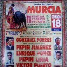 Affissi Tauromachia: CARTEL DE TOROS DE MURCIA FESTIVAL DEL CANCER DE ESCAPARATE, AÑO 2001. Lote 230684395