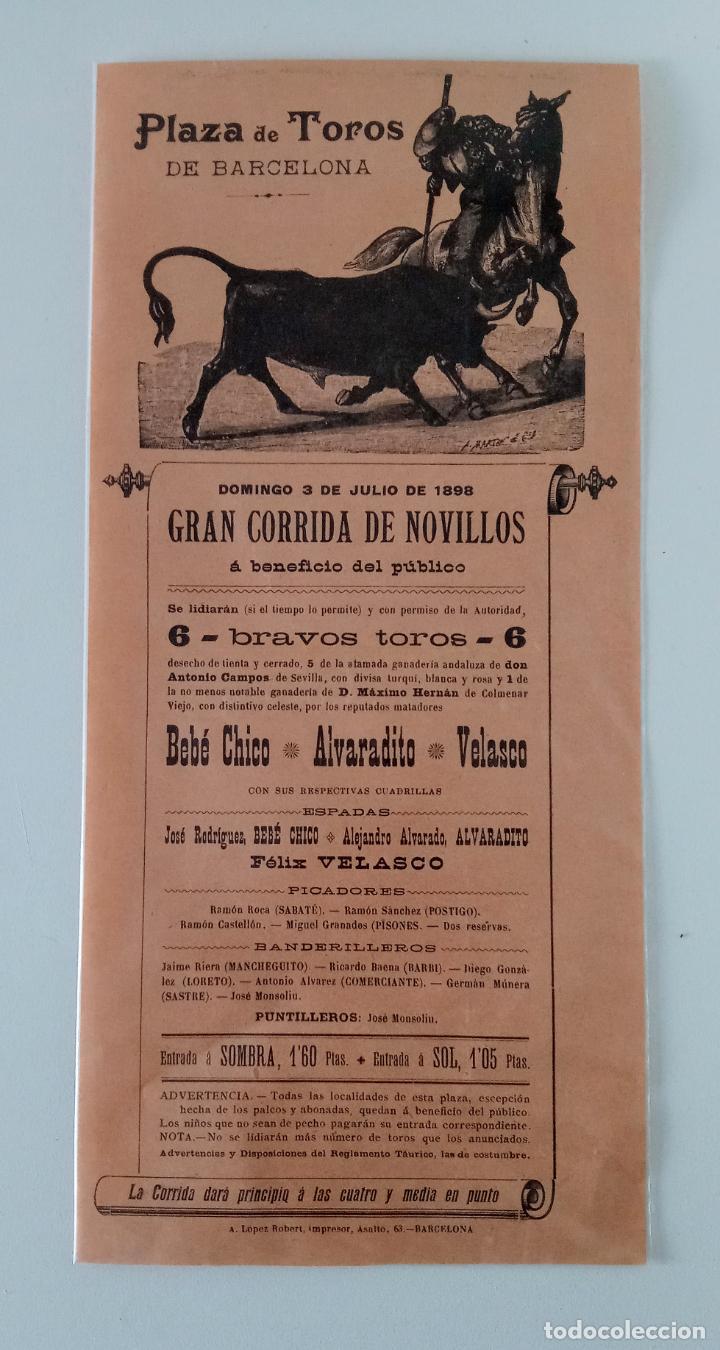 PLAZA DE TOROS DE BARCELONA. JULIO 1898. CORRIDA NOVILLOS, BEBE CHICO, ALVARADITO Y VELASCO. W (Coleccionismo - Carteles Gran Formato - Carteles Toros)