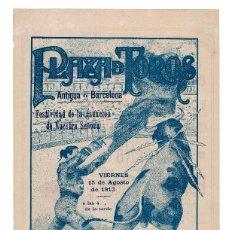 Carteles Toros: CARTEL PLAZA DE TOROS DE BARCELONA 1913. ANDRESITO Y BELMONTE CHICO.. Lote 231840685