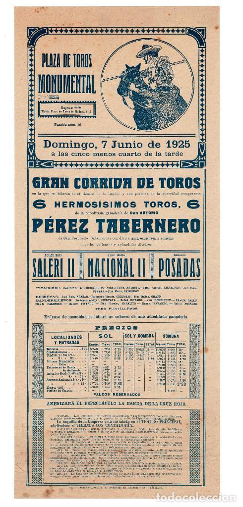 CARTEL PLAZA DE TOROS MONUMENTAL 1925. SALE II, NACIONAL II Y POSADAS. (Coleccionismo - Carteles Gran Formato - Carteles Toros)