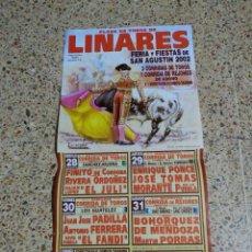Affiches Tauromachie: CARTEL DE TOROS DE LINARES DE MANO,XL, AÑO 2002. Lote 232921515