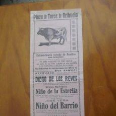Affissi Tauromachia: GRAN CARTEL TOROS FERIAS Y FIESTAS DE ORIHUELA 15 DE AGOSTO DE 1933 DIEGO DE LOS REYES. Lote 234628705