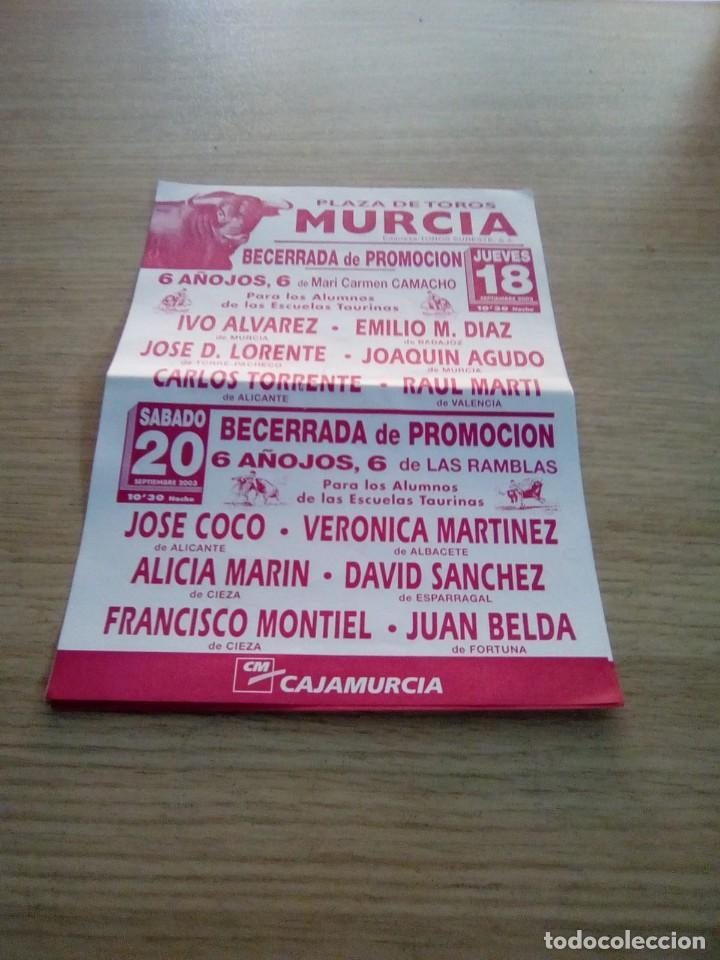 CARTEL DE TOROS DE MURCIA DE MANO, AÑO 2003 (Coleccionismo - Carteles Gran Formato - Carteles Toros)