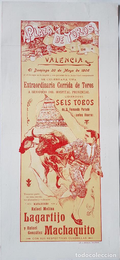 LAGARTIJO Y MACHAQUITO EN VALENCIA. 1906. ARTEL DE 41X19 CM. DOS CARAS (Coleccionismo - Carteles Gran Formato - Carteles Toros)
