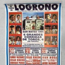 Cartazes Touros: CARTEL PLAZA DE TOROS DE LOGROÑO. SAN MATEO 1994. Lote 235895210
