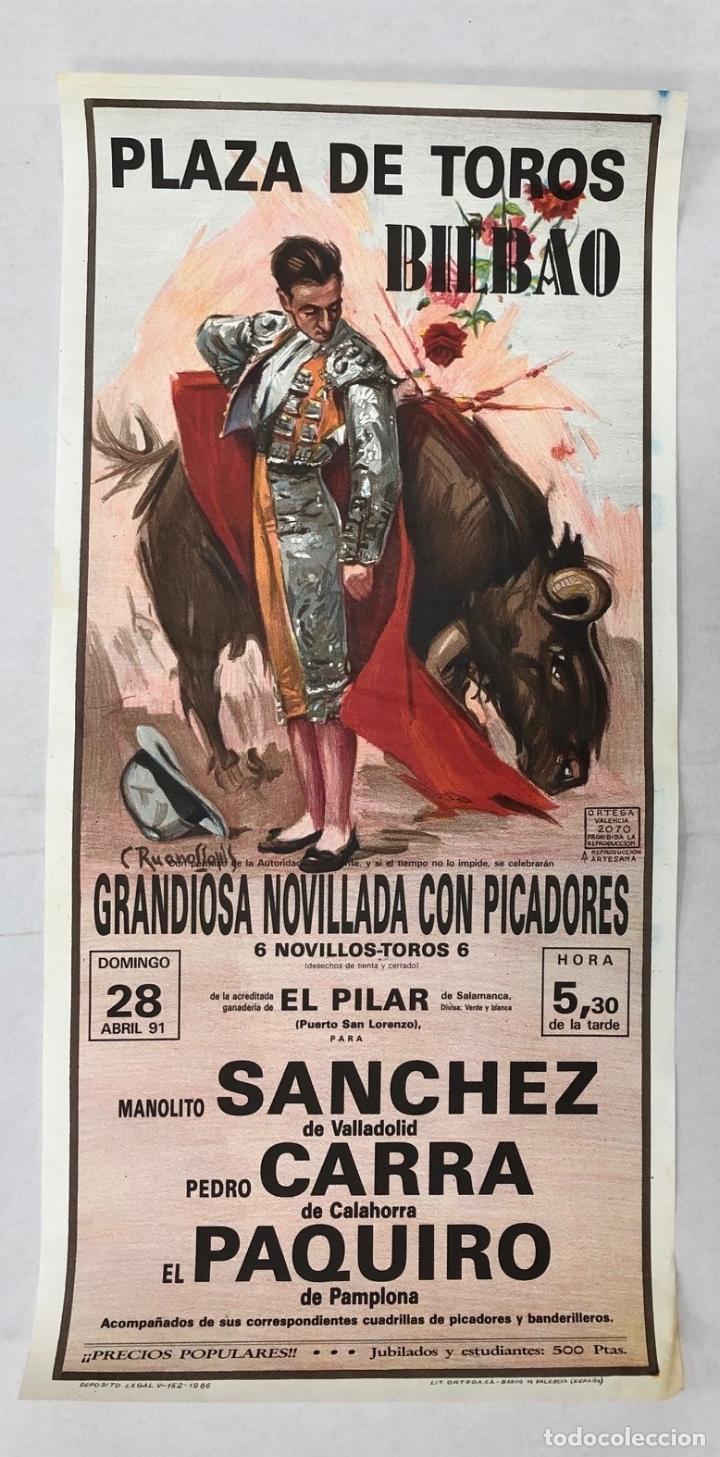 CARTEL PLAZA DE TOROS BILBAO. 28 DE ABRIL DE 1991 (Coleccionismo - Carteles Gran Formato - Carteles Toros)