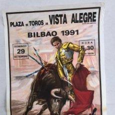 Affissi Tauromachia: CARTEL PLAZA DE TOROS BILBAO. 29 DE SEPTIEMBRE DE 1991. Lote 235899900