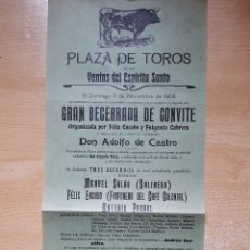 Cartazes Touros: ANTIGUO CARTEL DE TOROS .VENTES DEL ESPÍRITU SANTO 1906. Lote 236515635