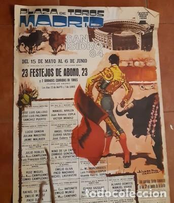 Carteles Toros: CARTEL DE TOROS DE LA FERIA DE SAN ISIDRO DE MADRID DE 1984, ÁLVAREZ CARMENA, PUB. DE PEGASO - Foto 2 - 236890245