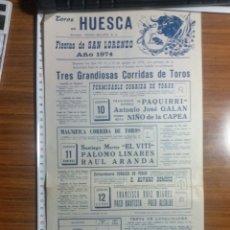 Affiches Tauromachie: HUESCA CARTEL DE TOROS 1974 SAN LORENZO. Lote 237597265