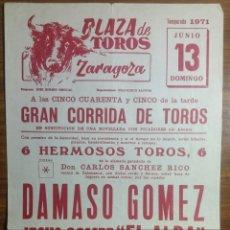 Affiches Tauromachie: ZARAGOZA CARTEL TOROS 1971. Lote 237780510