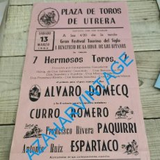 Carteles Toros: UTRERA, 1982, CARTEL TOROS A BENEFICIO HERMANDAD GITANOS, CURRO ROMERO, PAQUIRRI Y ESPARTACO. Lote 240479995