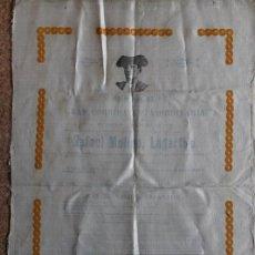 Carteles Toros: CARTEL DE TOROS DE MADRID.1 DE JUNIO DE 1893. RETIRADA DE LAGARTIJO.. Lote 242145705