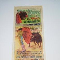 Cartazes Touros: CARTEL PLAZA TOROS LA MONUMENTAL DE MURO MALLORCA 1928. Lote 242173320