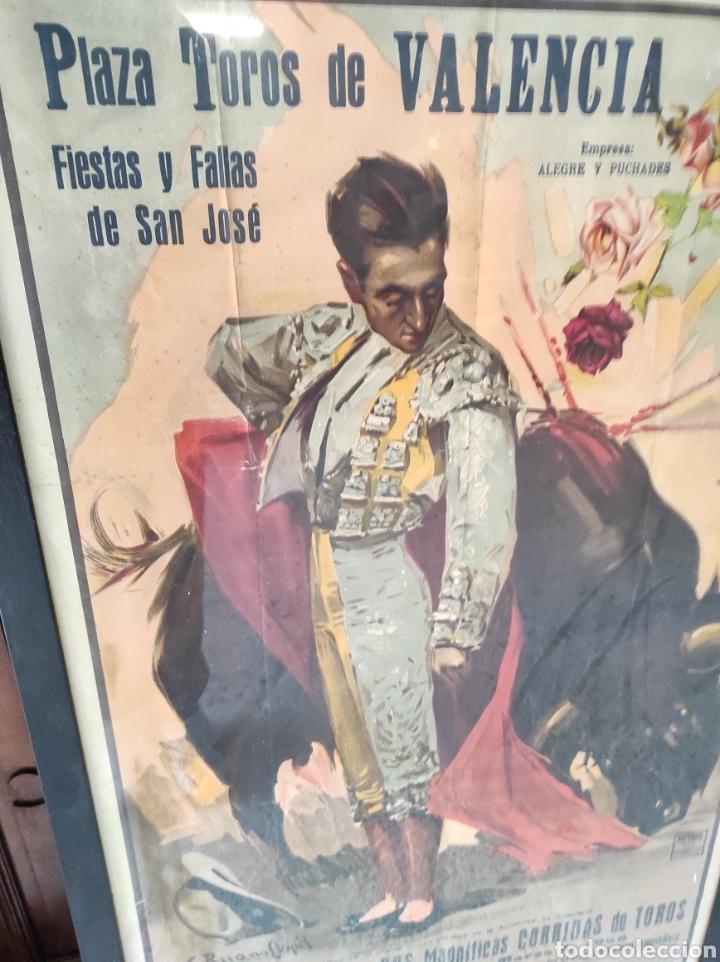 Carteles Toros: PRECIOSO CARTEL MUY GRANDE DE TOROS - VALENCIA - FALLAS - MARZO DE 1956 - LITOGRAFIA - RUANO 112x59 - Foto 3 - 243427970
