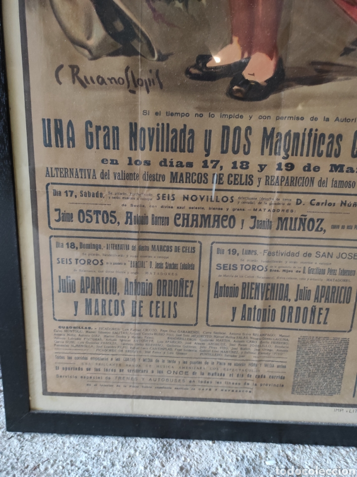 Carteles Toros: PRECIOSO CARTEL MUY GRANDE DE TOROS - VALENCIA - FALLAS - MARZO DE 1956 - LITOGRAFIA - RUANO 112x59 - Foto 4 - 243427970