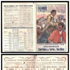 Carteles Toros: PROGRAMA, PLAZA DE TOROS DE MADRID MAYO 1950 GRANDIOSAS CORRIDAS DE TOROS Y NOVILLOS.. Lote 244902170