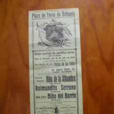 Carteles Toros: CARTEL PLAZA DE TOROS DE ORIHUELA DOMINGO 16 DE JULIO 1933 CON MOTIVO DE LAS FIESTAS DE LAS FALLAS. Lote 245355490