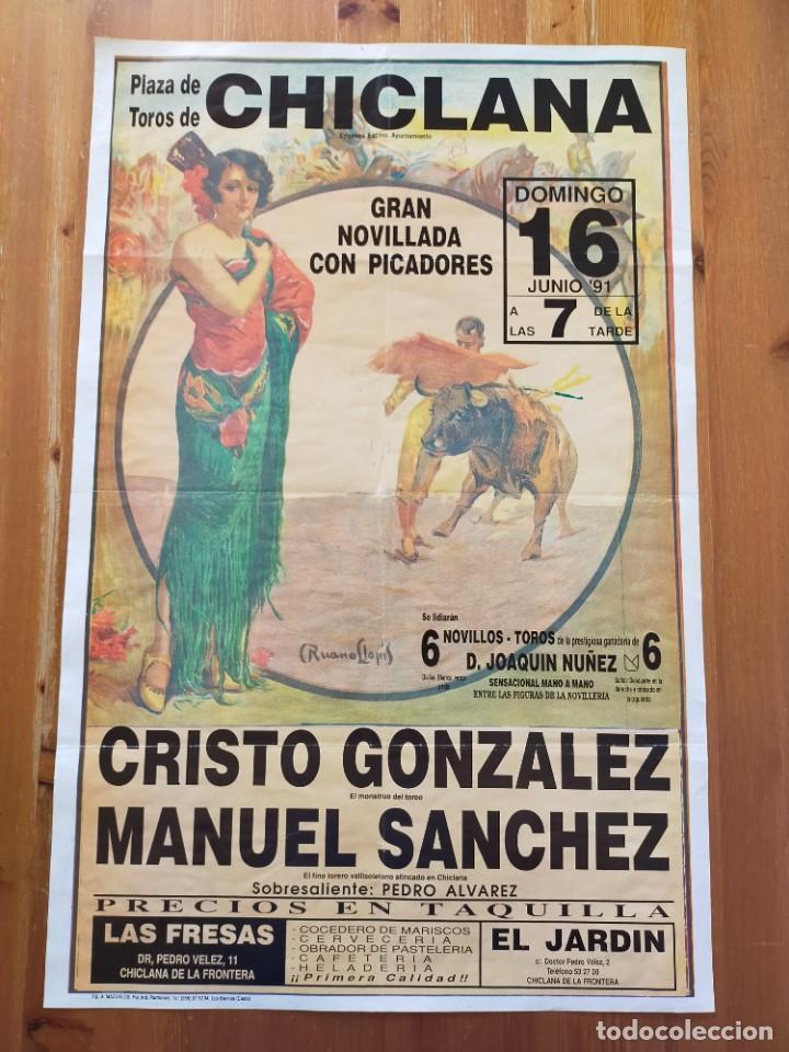 CARTEL (70X45): NOVILLADA PLAZA DE TOROS DE CHICLANA (CÁDIZ) 1991 (Coleccionismo - Carteles Gran Formato - Carteles Toros)