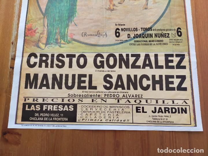 Carteles Toros: CARTEL (70X45): NOVILLADA PLAZA DE TOROS DE CHICLANA (CÁDIZ) 1991 - Foto 3 - 245651255