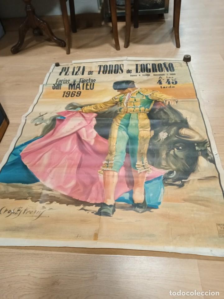 Carteles Toros: Cartel fiestas de Logroño 1969 - Foto 3 - 245949885