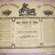 Carteles Toros: 1868 SEVILLA CARTEL DE TOROS MONTPENSIER - GANADERIA DIEGO BENJUMEA - CON EL TATO Y LAGARTIJO. Lote 246558365