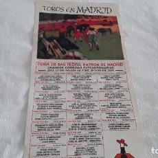 Carteles Toros: CARTEL DE TOROS MADRID 1989. Lote 246591550