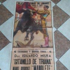 Carteles Toros: CARTEL DE TOROS, LINARES, GITANILLO DE TRIANA, MANUEL RODRÍGUEZ, MANOLETE, LUIS MIGUEL, DOMINGUÍN. Lote 253281560