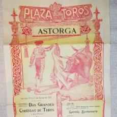 Carteles Toros: ASTORGA CARTEL TOROS 1913. Lote 257329140