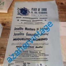 Carteles Toros: DOS HERMANAS, 1934, CARTEL SEDA CORRIDA DE TOROS, HERMANOS BADILA, SIDRANDA,ETC.27X48 CMS, RARISIMO. Lote 257441500