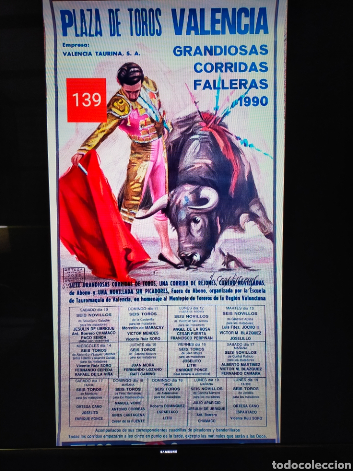 Carteles Toros: Cartel plaza toros valencia fallas 1990 - Foto 3 - 257532000