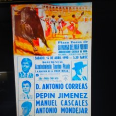 Carteles Toros: CARTEL DE TOROS DE LA MANGA DE MAR MENOR 1990. Lote 257535945