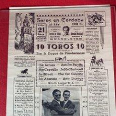 Affissi Tauromachia: CARTEL DE TOROS ANTIGUO 1951 ORGANIZADA POR LA COMISION MUNICIPAL PRO-MONUMENTO A MANOLETE. Lote 257892230