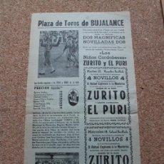 Affissi Tauromachia: CARTEL DE TOROS DE BUJALANCE. 13 Y 14 DE AGOSTO DE 1960. ZURITO Y EL PURI. Lote 260807215