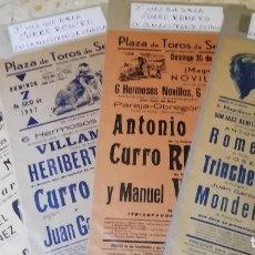 Carteles Toros: SEVILLA. TRIANA. TOROS. CURRO ROMERO. LAS 4 PRIMERAS VECES QUE TOREA EN LA MAESTRANZA DE SEVILLA. Lote 261212805