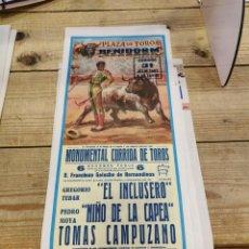 Carteles Toros: BENIDORM, 1983, CARTEL DE TOROS, EL INCLUSERO, NIÑO DE LA CAPEA Y TOMAS CAMPUZANO, 19X46 CMS. Lote 262296390