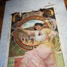 Carteles Toros: GRAN CARTEL DE TOROS SAN SEBASTIÁN 1904 ILUSTRADO POR ROMERO OROZCO. Lote 267797864