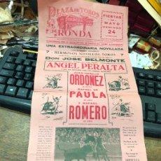 Carteles Toros: CARTEL PLAZA DE TOROS DE RONDA - MEDIDA 43X21 CM - CARTEL DOBLADO POR EL CENTRO. Lote 268307579