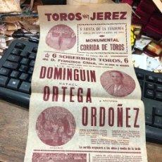 Carteles Toros: CARTEL PLAZA DE TOROS DE JEREZ 1952 - MEDIDA 463X20 CM - CARTEL DOBLADO POR EL CENTRO. Lote 268308199