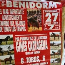 Carteles Toros: CARTEL TOROS BENIDORM 1992 GINES CARTAGENA TOROS PABLO ROMERO. Lote 268720249