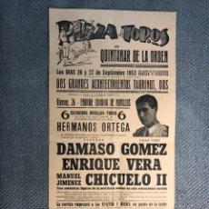 Carteles Toros: CARTEL, PLAZA DE TOROS, DE QUINTANAR DE LA ORDEN. DOS GRANDES ACONTECIMIENTOS TAURINOS (A.1952). Lote 268976484