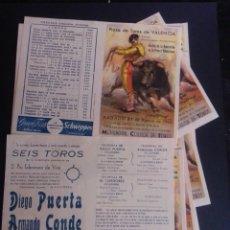 Carteles Toros: LOTE DE 12 PROGRAMAS PARA CORRIDA DE TOROS EN VALENCIA. EN PLANCHA. AÑO 1963.. Lote 269992433