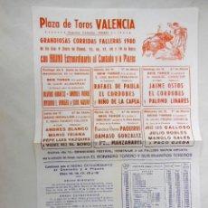Carteles Toros: VALENCIA, CORRIDAS FALLERAS 1967. Lote 270612878