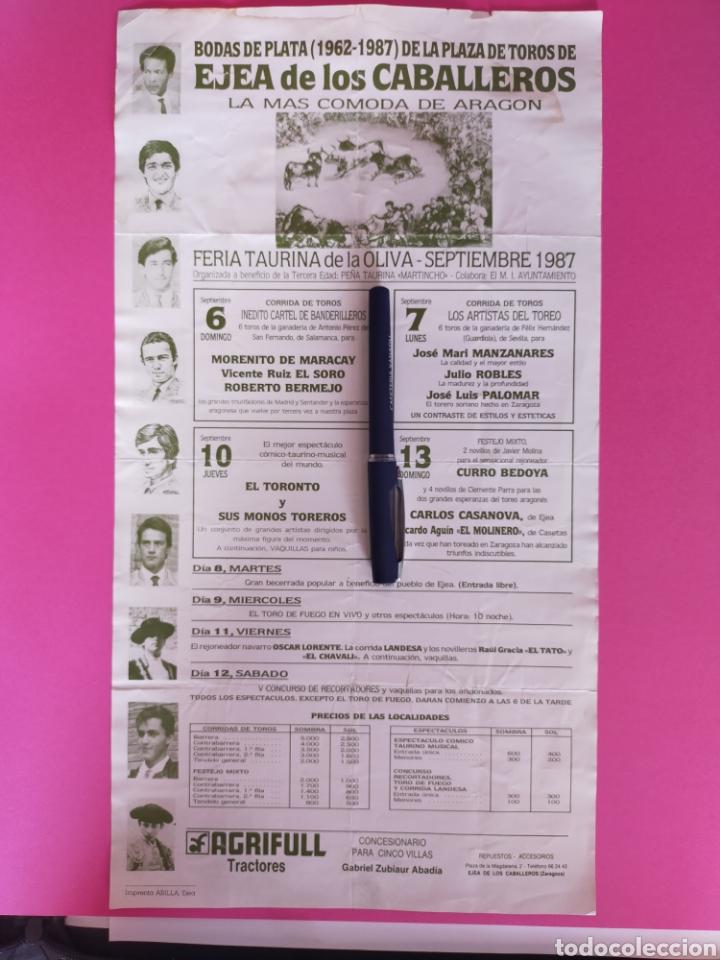 44X24 CARTEL DE TOROS EJEA DE LOS CABALLEROS BODAS DE PLATA 1962-1897 (Coleccionismo - Carteles Gran Formato - Carteles Toros)