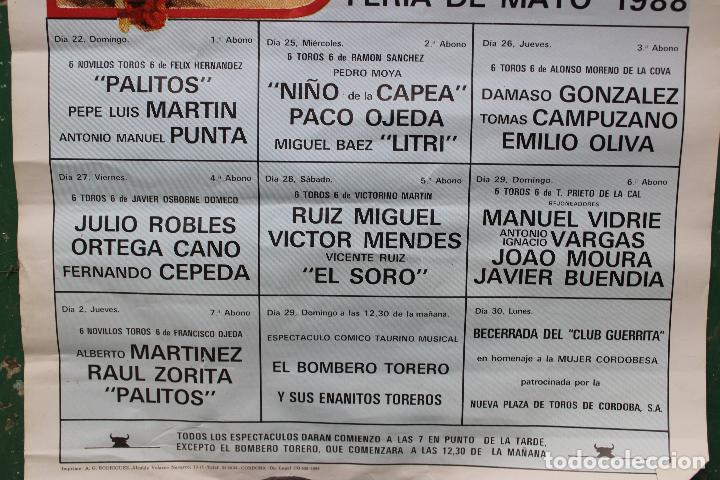 Carteles Toros: cartel de toros plaza cordoba, 1988, original - Foto 4 - 276110208