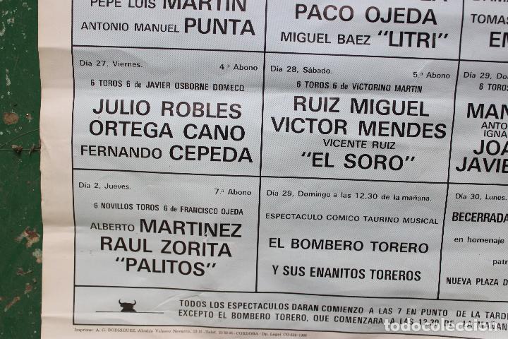 Carteles Toros: cartel de toros plaza cordoba, 1988, original - Foto 5 - 276110208