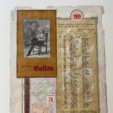 Carteles Toros: CORRIDAS TOREADAS JOSÉ GOMEZ , GALLITO , CARTEL 1919 , R. VELASCO , MADRID , TORERO. Lote 278349738