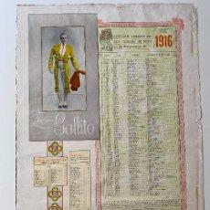 Carteles Toros: CORRIDAS TOREADAS JOSÉ GOMEZ , GALLITO , CARTEL 1916 , R. VELASCO , MADRID , TORERO. Lote 278349888